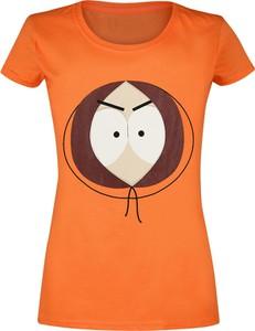 Pomarańczowy t-shirt Emp z okrągłym dekoltem z bawełny