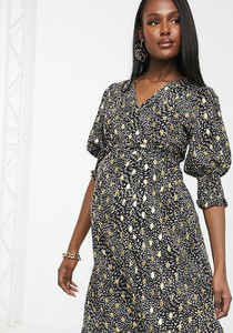 Outrageous Fortune Maternity – Sukienka kopertowa z falbanką, marszczeniem na rękawach i kontrastowym wzorem geometrycznym-Wielokolorowy