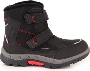 Czarne buty dziecięce zimowe American Club na rzepy dla chłopców
