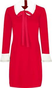 Sukienka Red Valentino w stylu casual z długim rękawem z żabotem