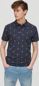 Granatowa koszulka polo Cropp z nadrukiem z krótkim rękawem