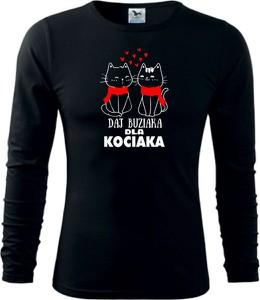 Czarna bluzka TopKoszulki.pl z bawełny z długim rękawem