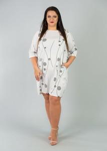 Sukienka KARKO z długim rękawem prosta z okrągłym dekoltem