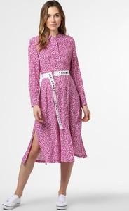 Fioletowa sukienka Tommy Jeans midi z długim rękawem koszulowa