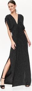 Czarna sukienka Top Secret z krótkim rękawem z dekoltem w kształcie litery v maxi