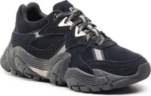 Czarne buty sportowe Caterpillar z płaską podeszwą sznurowane
