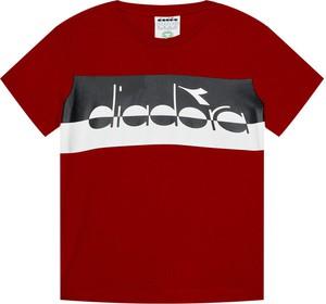 Czerwona koszulka dziecięca Diadora dla chłopców