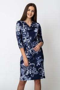 Niebieska sukienka QUIOSQUE z dekoltem w kształcie litery v w stylu casual prosta