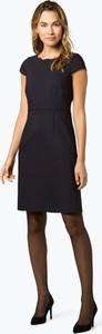 Granatowa sukienka comma, z okrągłym dekoltem mini z krótkim rękawem
