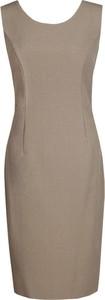 Brązowa sukienka Fokus midi ołówkowa bez rękawów