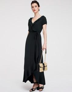 Czarna sukienka Heine z dekoltem w kształcie litery v z krótkim rękawem maxi
