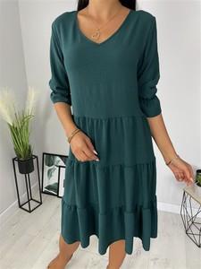 Zielona sukienka ModnaKiecka.pl oversize z dekoltem w kształcie litery v mini