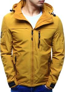 Dstreet kurtka męska przejściowa z kapturem żółta (tx2105)