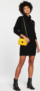 Czarna sukienka V by Very z golfem w stylu casual mini