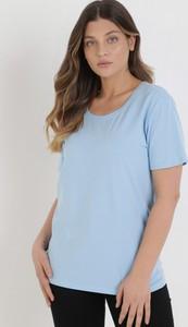 Niebieski t-shirt born2be z okrągłym dekoltem w stylu casual