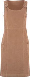 Brązowa sukienka bonprix bpc bonprix collection midi bez rękawów w stylu casual