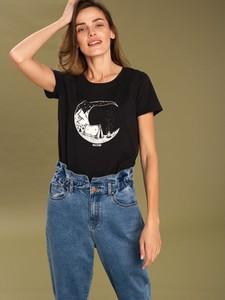 Czarny t-shirt volcano.pl z bawełny z nadrukiem