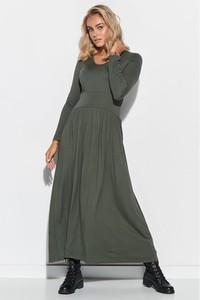 Zielona sukienka Makadamia z długim rękawem