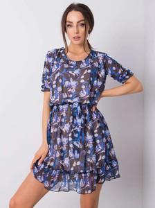 Niebieska sukienka Promese z okrągłym dekoltem w stylu casual mini