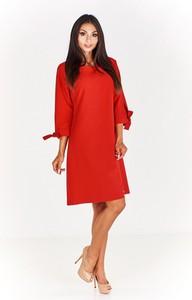 Czerwona sukienka omnido.pl z długim rękawem prosta