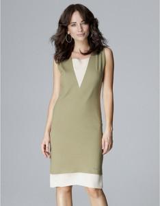 Zielona sukienka LENITIF z szyfonu bez rękawów midi