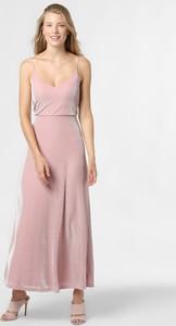 Różowa sukienka Vila maxi z dekoltem w kształcie litery v na ramiączkach