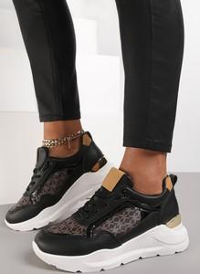 Czarne buty sportowe Renee z płaską podeszwą sznurowane ze skóry ekologicznej