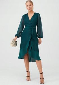 Zielona sukienka V by Very midi z dekoltem w kształcie litery v