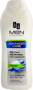 AA Men, Adventure Care, żel pod prysznic 3w1, Fresh, 400 ml