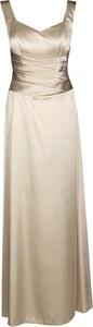 Złota sukienka Fokus maxi gorsetowa z dekoltem w kształcie litery v