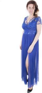Niebieska sukienka Marselini maxi z dekoltem w kształcie litery v