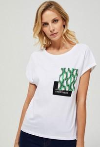 T-shirt Moodo z nadrukiem z okrągłym dekoltem w młodzieżowym stylu