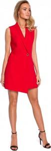 Czerwona sukienka MOE mini bez rękawów z dekoltem w kształcie litery v