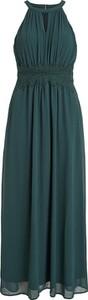 Zielona sukienka Vila maxi z dekoltem w kształcie litery v bez rękawów