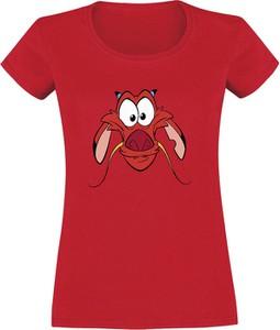 Czerwony t-shirt Emp w młodzieżowym stylu z okrągłym dekoltem z bawełny