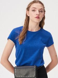 Niebieski t-shirt Sinsay z krótkim rękawem