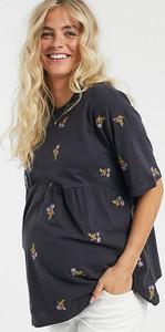 ASOS DESIGN Maternity – tunika z kwiatowym haftem-Szary