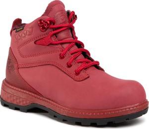 Czerwone buty trekkingowe Jack Wolfskin sznurowane z płaską podeszwą