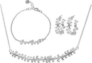 Irbis.style srebrny komplet biżuterii - kolczyki, bransoletka i naszyjnik
