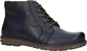 Niebieskie buty zimowe Casu sznurowane w stylu casual
