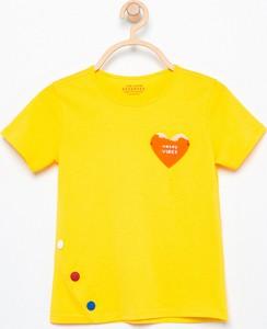 Żółta koszulka dziecięca Reserved z krótkim rękawem z okrągłym dekoltem