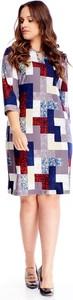 Sukienka Ptakmoda.com z długim rękawem w geometryczne wzory dla puszystych