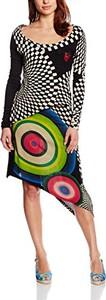Sukienka amazon.de z okrągłym dekoltem z długim rękawem asymetryczna
