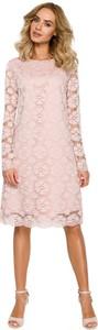 Sukienka Merg midi z okrągłym dekoltem z długim rękawem