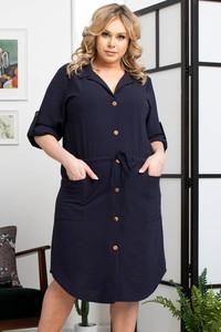 Granatowa sukienka KARKO z długim rękawem z tkaniny szmizjerka