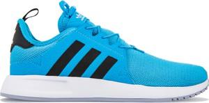 Niebieskie buty sportowe Adidas z płaską podeszwą sznurowane w młodzieżowym stylu