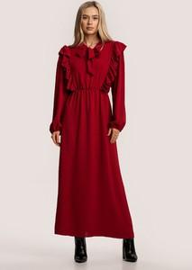 Czerwona sukienka Renee maxi z długim rękawem