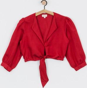 Czerwona koszula Brixton z kołnierzykiem w stylu klasycznym z lnu