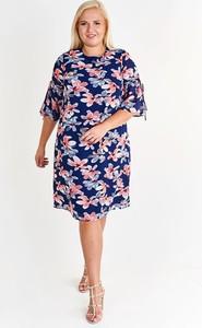 Sukienka Fokus dla puszystych z okrągłym dekoltem midi