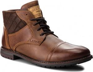 Brązowe buty zimowe Lasocki For Men z zamszu sznurowane